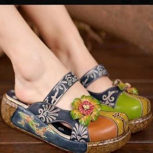 Shoes - GKTINOO Mary Jane Slip-on Leather Clogs